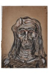 Self-Portrait, 2012, Pencil, Charcoal, Conte