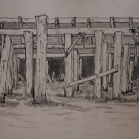 Wharf Drawing, graphite, ink, Mississippi River mud